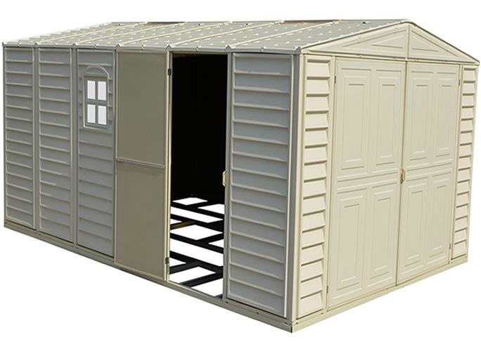 Large door large oversized doors non warping patented for Storage shed overhead door