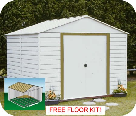 Arrow 10x12 White Dallas Metal Storage Shed Kit