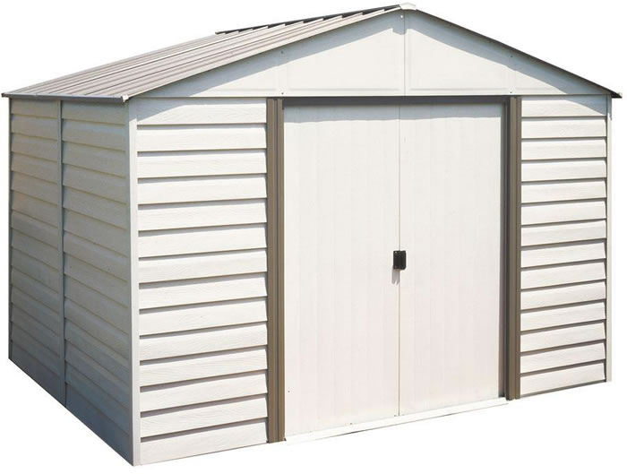Arrow 10x12 Vinyl Milford Shed w/ Foundation & Shelving