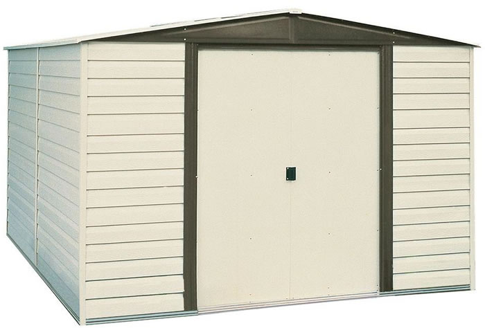 Arrow 10x12 Vinyl Dallas Shed w/ Foundation & Shelving