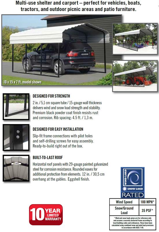 Arrow 10x29 Steel Auto Carport Specifications