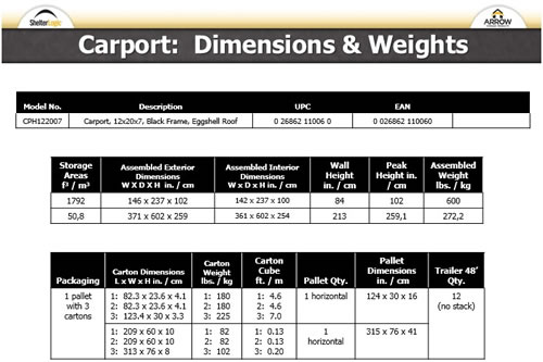 Arrow 12x20x7 Steel Auto Carport Kit Dimensions and Weight Chart