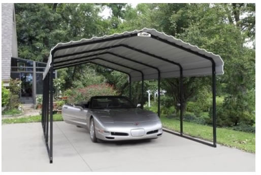 Arrow 12x20x7 Steel Auto Carport Kit Installed In Driveway
