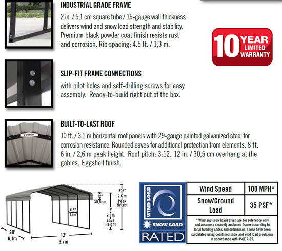 Arrow 12x20x7 Steel Auto Carport Kit Features and Benefits