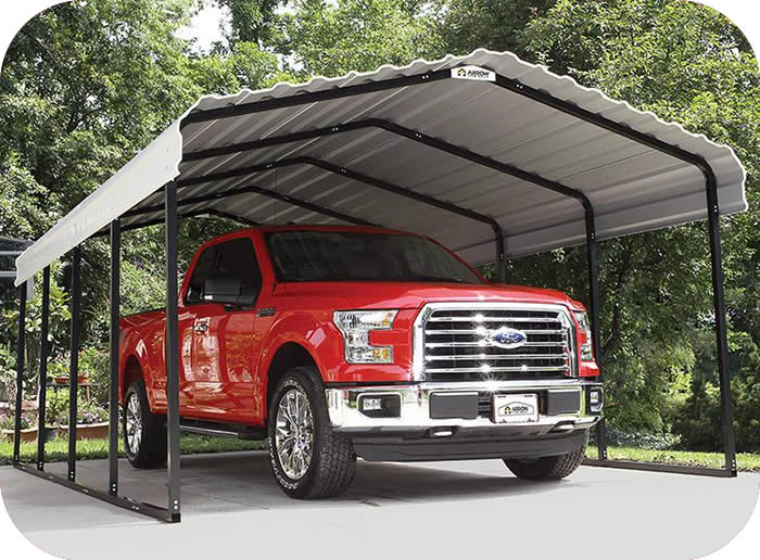 Arrow 12x20x7 Steel Auto Carport Kit - Eggshell