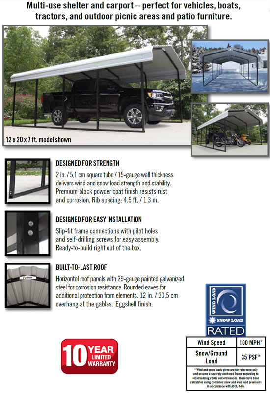 Arrow 12x29x7 Steel Auto Carport Kit Features and Benefits