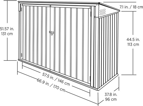 Arrow 6x3 Garbage Can Shed Measurements Diagram