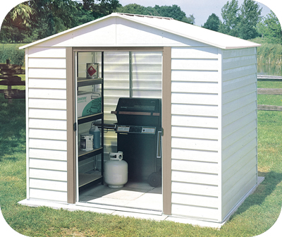White Dallas 8x6 Arrow Metal Storage Shed Kit