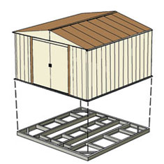 Red barn 10x14 arrow steel storage shed kit rh1014 for 10x14 shed floor plans