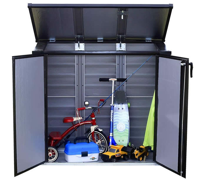 Arrow 5x3 Versa-Shed Locking Horizontal Shelter - Onyx