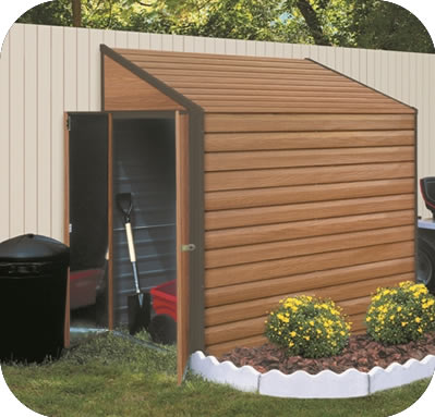Yardsaver 4x7 Woodgrain Arrow Metal Storage Shed