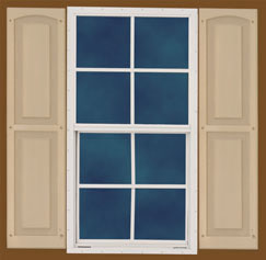 Optional Windows with Paintable Vinyl Shutters