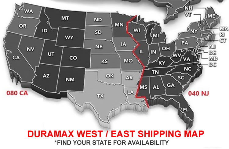 DuraMax Sheds West & East Shipping Zones Map