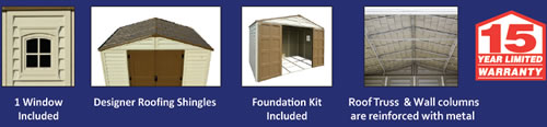 DuraMax 10x8 Woodbridge Plus Vinyl Shed includes floor kit, window and reinforced trusses