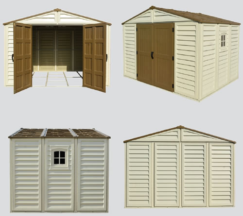 DuraMax 10x8 Woodbridge Plus Vinyl Shed front, side and rear views