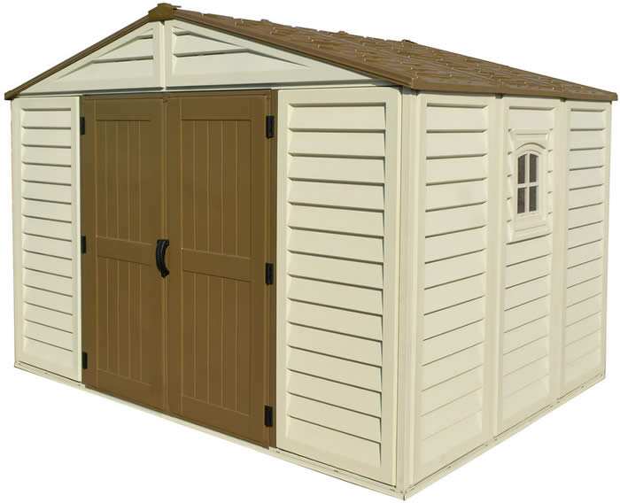 duramax 10x8 woodbridge plus vinyl shed w floor kit