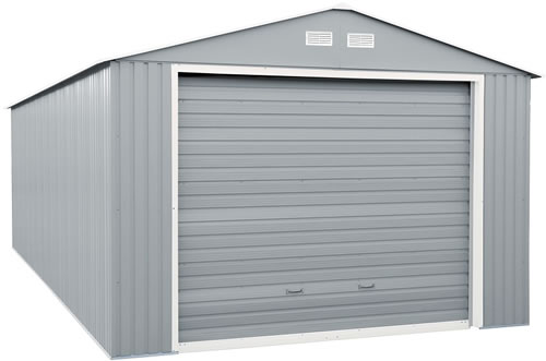 DuraMax 12x32 Light Gray Steel Garage Assembled with Roll Up Door Closed
