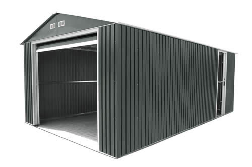 DuraMax 12x20 Gray Steel Garage - includes roll up garage door and one side door!