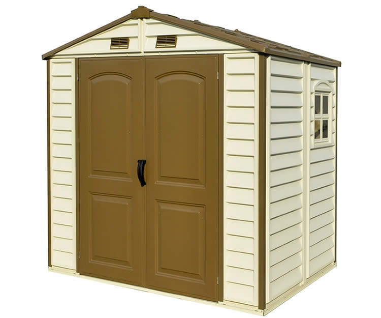 Duramax 4x6 storepro vinyl storage shed kit w floor 30621 for Vinyl storage sheds
