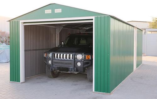DuraMax 12x26 Green Steel Garage Assembled In Driveway
