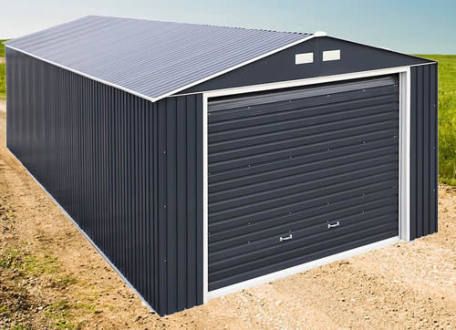 DuraMax 12x20 Gray Steel Garage Assembled In Backyard