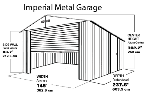 DuraMax 12x20 White Steel Garage Measurements