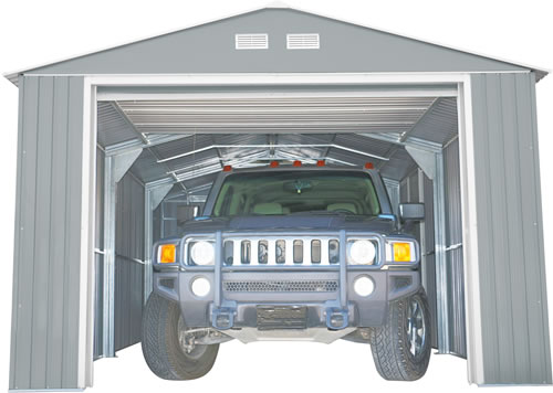 DuraMax 12x32 Light Gray Steel Garage Assembled with Roll Up Door Open