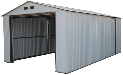 DuraMax 12x20 White Steel Garage - includes roll up garage door and one side door!