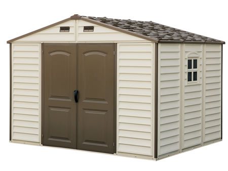 Sunlight ct duramax woodside 10 39 x8 39 vinyl shed for Cabane jardin pvc