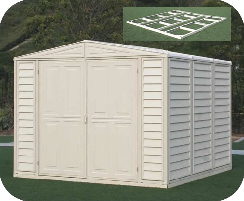 DuraMate 8x8 Vinyl Shed w/ Foundation Kit & Vinyl Sheds - PVC u0026 Coated Steel Storage Shed Kits