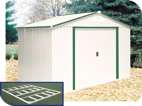 Duramax 10x8 delmar metal shed w floor kit green trim for 10 x 8 metal shed with floor