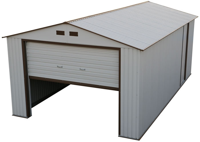 White w brown trim metal storage garage building kit model 50931