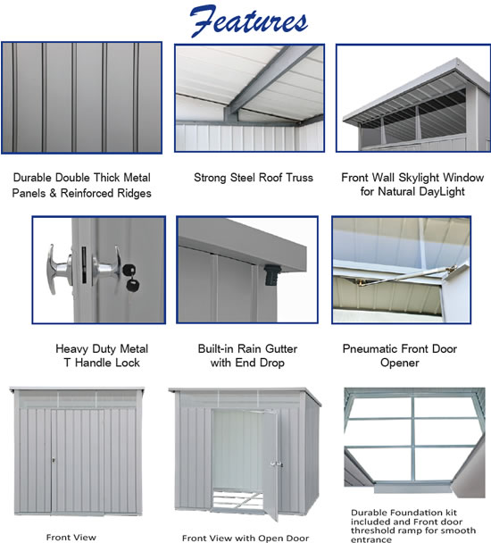 Duramax 8x6 Palladium Metal Shed Features