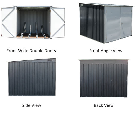 Duramax Bicycle Storage Shed 73051 Different Views