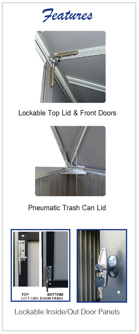Duramax 5x3 Trash Can Shed Features