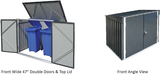 Duramax 5x3 Garbage Can Shed - Front & Top Views