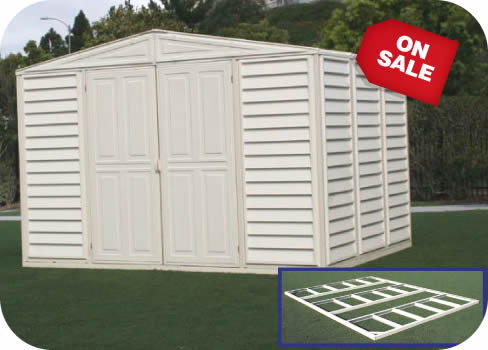 WoodBridge 10x8 Vinyl Shed w/ Foundation Kit & Vinyl Sheds - PVC u0026 Coated Steel Storage Shed Kits