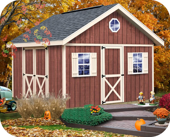 Fairview 12x16 Wood Storage Shed Kit - ALL Pre-Cut