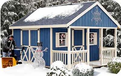 Fairview 12x16 Wood Shed Kit w/ Porch - ALL Pre-Cut