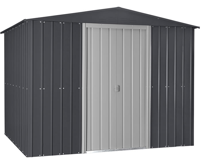 Globel 10x12 Gable Roof Metal Shed Kit - Gray and White