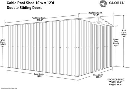 Globel 10x12 Metal Shed Kit GL1009 Measurements Diagram