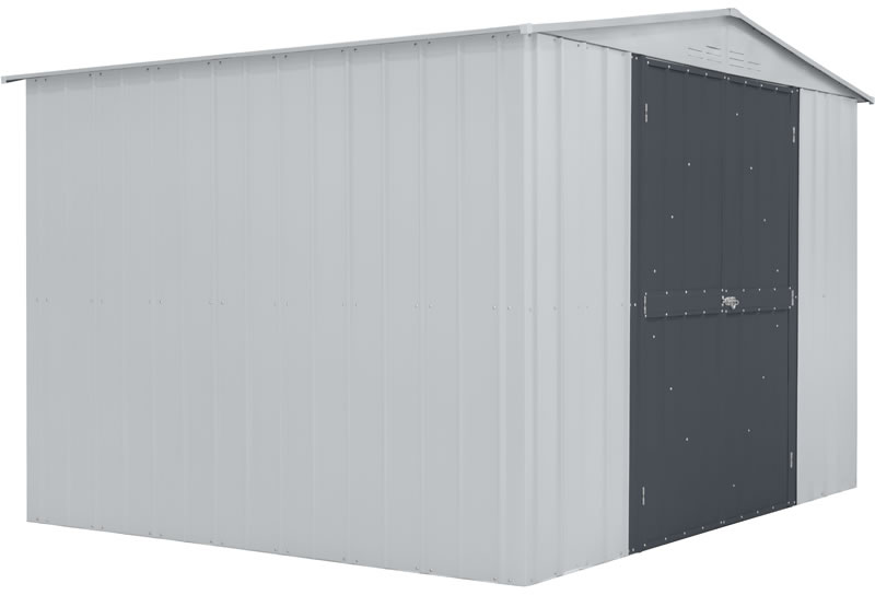 Globel 10x8 Metal Storage Shed Kit - White and Gray