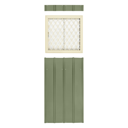 Globel 24x24 Metal Shed Window Kit - Cream and Green