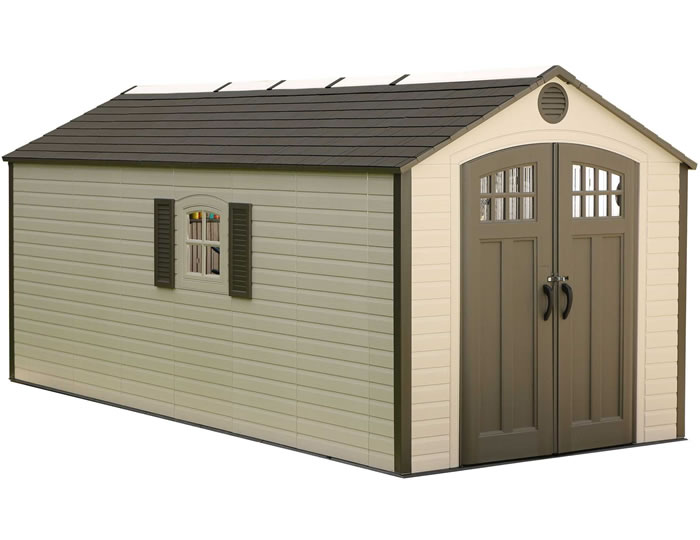 Bon Lifetime Sheds 8x17.5 Plastic Storage Shed W/ 2 Windows