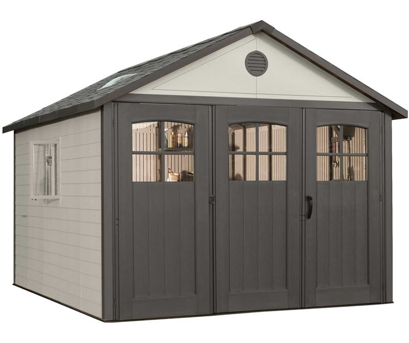 Lifetime 15x8 plastic storage shed kit w double doors 60079 for Storage shed overhead door