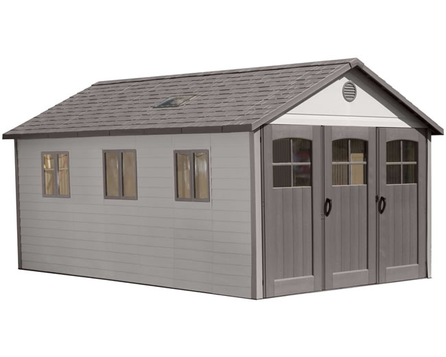 Lifetime 11x21 storage shed garage w floor wide doors for Storage shed overhead door