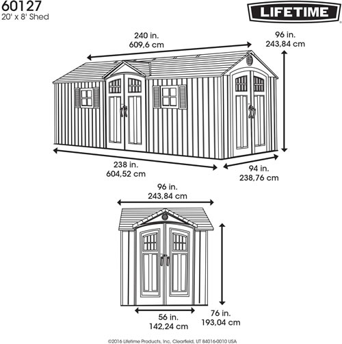 Lifetime 20x8 Shed 60127 Measurements Diagram