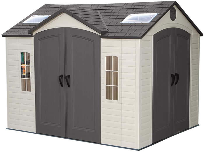 Lifetime 8x5 plastic backyard storage shed kit 6418 w floor for 10 x 8 metal shed with floor
