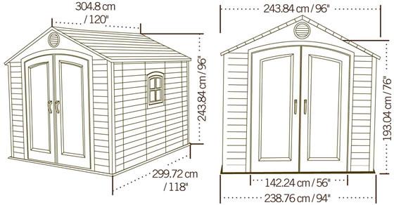 Lifetime 8x10 Plastic Shed 60056 Dimensions