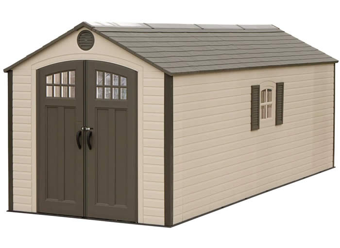 lifetime sheds 8x20 plastic storage shed w 2 windows - Garden Sheds With Windows